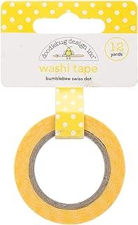 DOODLEBUG Washi Tape, 15mm by 12-Yard, Bumblebee Swiss Dot
