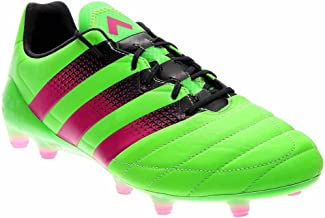 adidas Leather Soccer Cleats 9.5 - Ace 16.1 FG/AG, Green/Pink/Black