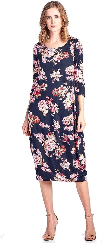 12 Ami Floral 3 4 Sleeve Bubble Hem Pocket Midi Dress  Made in USA