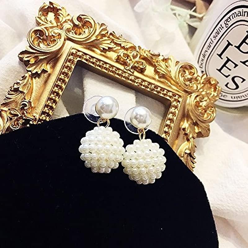 Pearl Ball Earrings Earings Dangler Eardrop Earrings Influx People Fashion Creative Gift Women Long Korean Women Girls Necklace Pendant