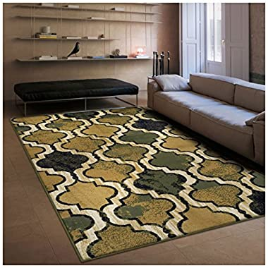 Superior Modern Viking Collection, 8mm Pile Height with Jute Backing, Geometric Trellis Pattern, Anti-Static Area Rugs - Green, 2' x 3' Rug