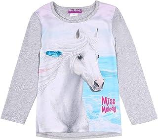 Miss Melody niñas Camiseta, T-Shirt, Manga Larga, Gris