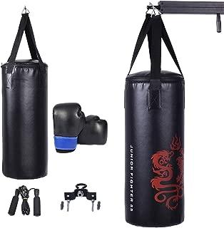 GYMAX Kids Punching Bag Set Heavy Bag Set w/Punch Bag, Gloves, Jump Rope, Mount Hook Hanger, Punching Bag Boxing Gloves for Kids