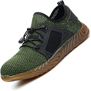 Men Steel Toe Safety Work Shoes Slip Resistant Construction Sneakers for Women