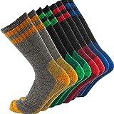 Cerebro Merino Wool Socks for Men, Cushioned Mid-calf Socks Moisture Wicking Men's Hiking Socks for Home, Trekking, Outdoors (4Pairs Yellow+Green+Red+Blue)