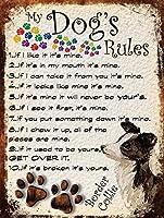 私の犬のルールブリキ看板ヴィンテージ錫のサイン警告注意サインートポスター安全標識警告装飾金属安全サイン面白いの個性情報サイン金属板鉄の絵表示パネル