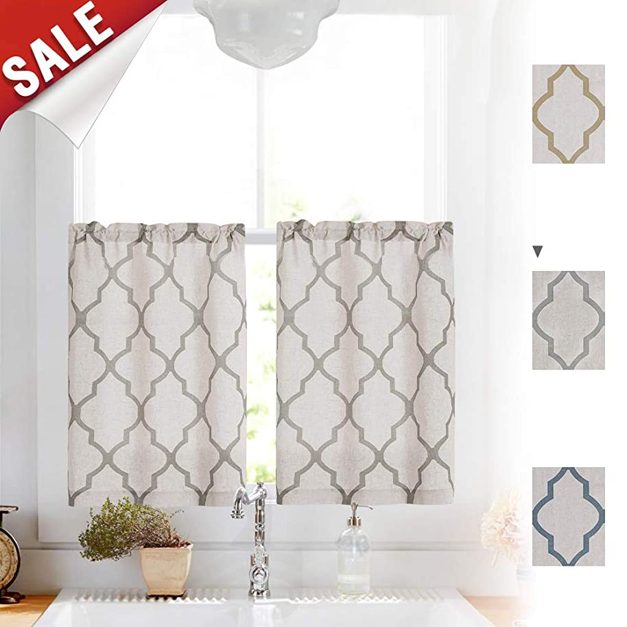 Linen Kitchen Curtains 36 Length Moroccan Design Cafe Curtains for Window Treatment Set (2 Panels, 26