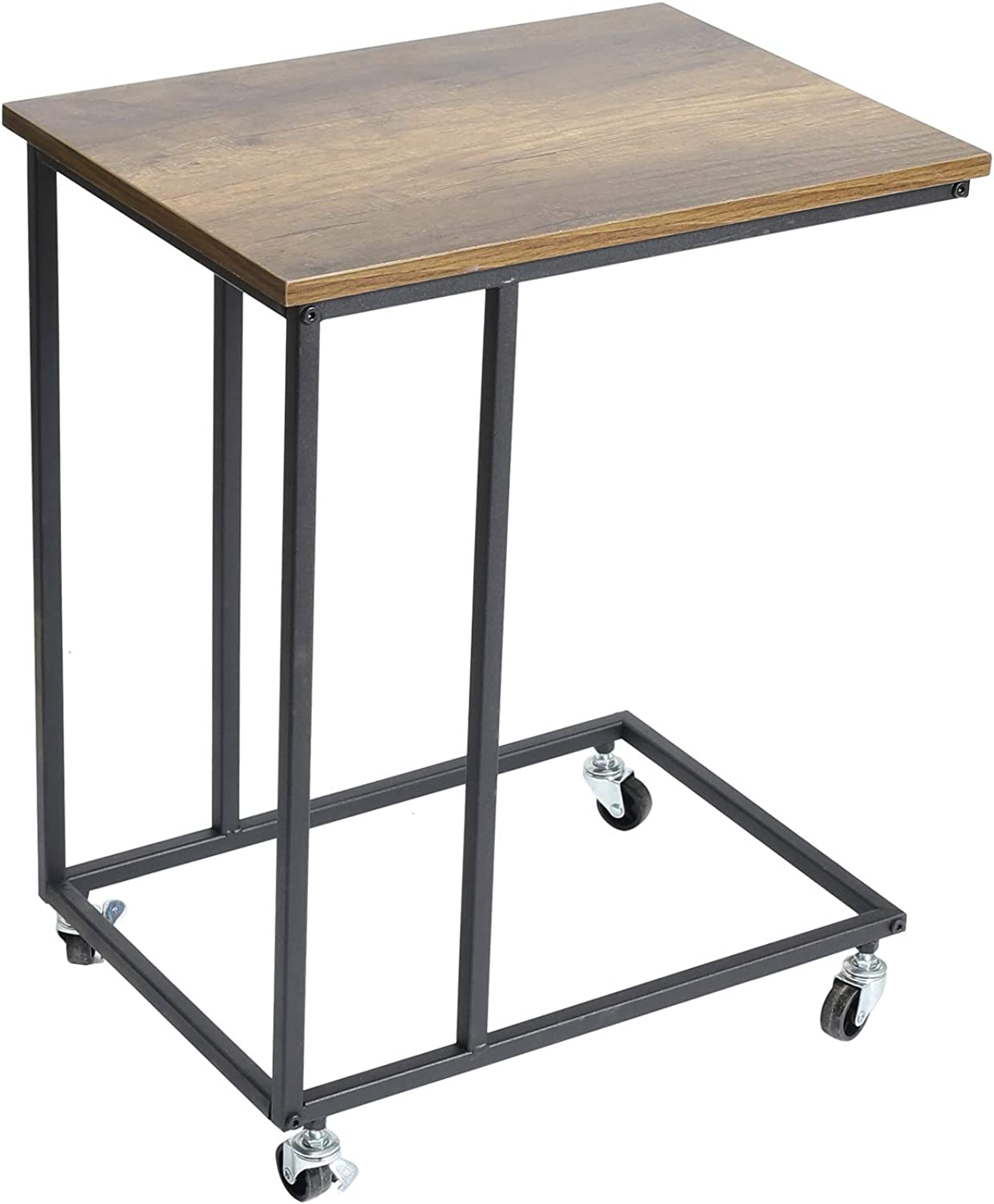 Adeco FT0199-1 Side, Mobile End, Wooden Style Top, Accent Furniture with Metal Frame, Heights 24 Inches Coffee Tables Wood