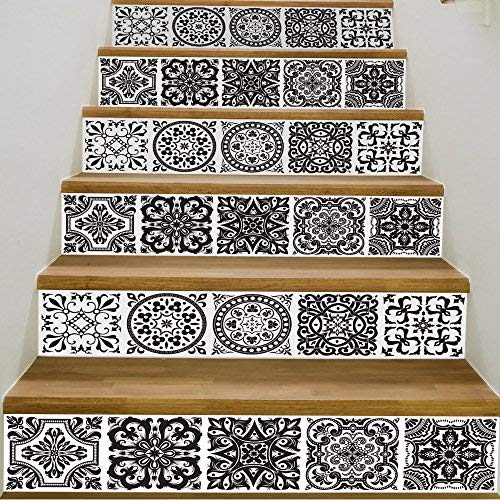 """Yizunnu - Adhesivo para escaleras removible, decoración del hogar, rollo mural de 18 x 39 pulgadas, 6 unidades por juego, vinilo, Negro, blanco, 39.3""""X7""""/18x100cm"""