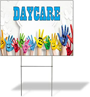 Daycare #1 Outdoor Lawn Decoration Corrugated Plastic Yard Sign - 12inx18in, Free Stakes
