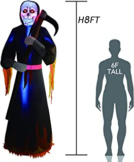 GOOSH 8 Foot Tall Halloween Inflatables Grim Reaper Inflatable Blow Up Outdoor Halloween Decorations