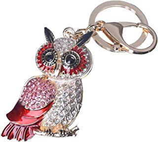 Girl's Owl Keychain Gold Plated Bag Charm Cute Car Key Ring Crystal Purse Pendant #51612