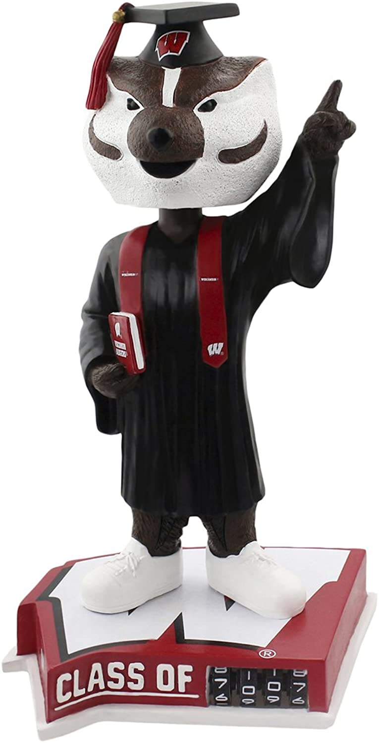 Forever Collectibles Bucky Badger Wisconsin Badgers Graduation Special Edition Bobblehead