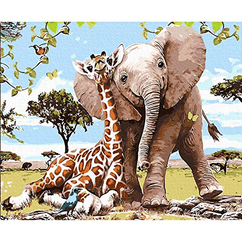 TOCARE Adult Paint by Numbers Kit for Adults Kids Acrylic Painting by Numbers On Canvas Home Wall Art Decor,16x20inch Girraff Elephant Zoo