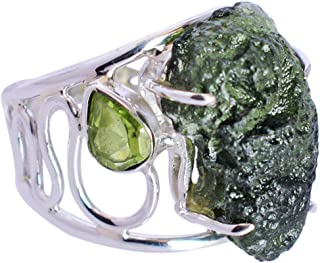 Ravishing Impressions Jewellery Anillo de plata de ley 925 maciza con piedra preciosa de peridoto y moldavita para mujer F...