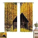 Cortinas con patrón de impresión, decoración de otoño, granja de madera abandonada en otoño, árboles de álamo, escena de naturaleza pastoral rural, marrón amarillo, paneles de cortina con bolsillo de