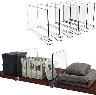 Hrpa Lot de 6 séparateurs d'étagère en acrylique transparent pour placard, placard en bois, étagère de cuisine, maison et ...