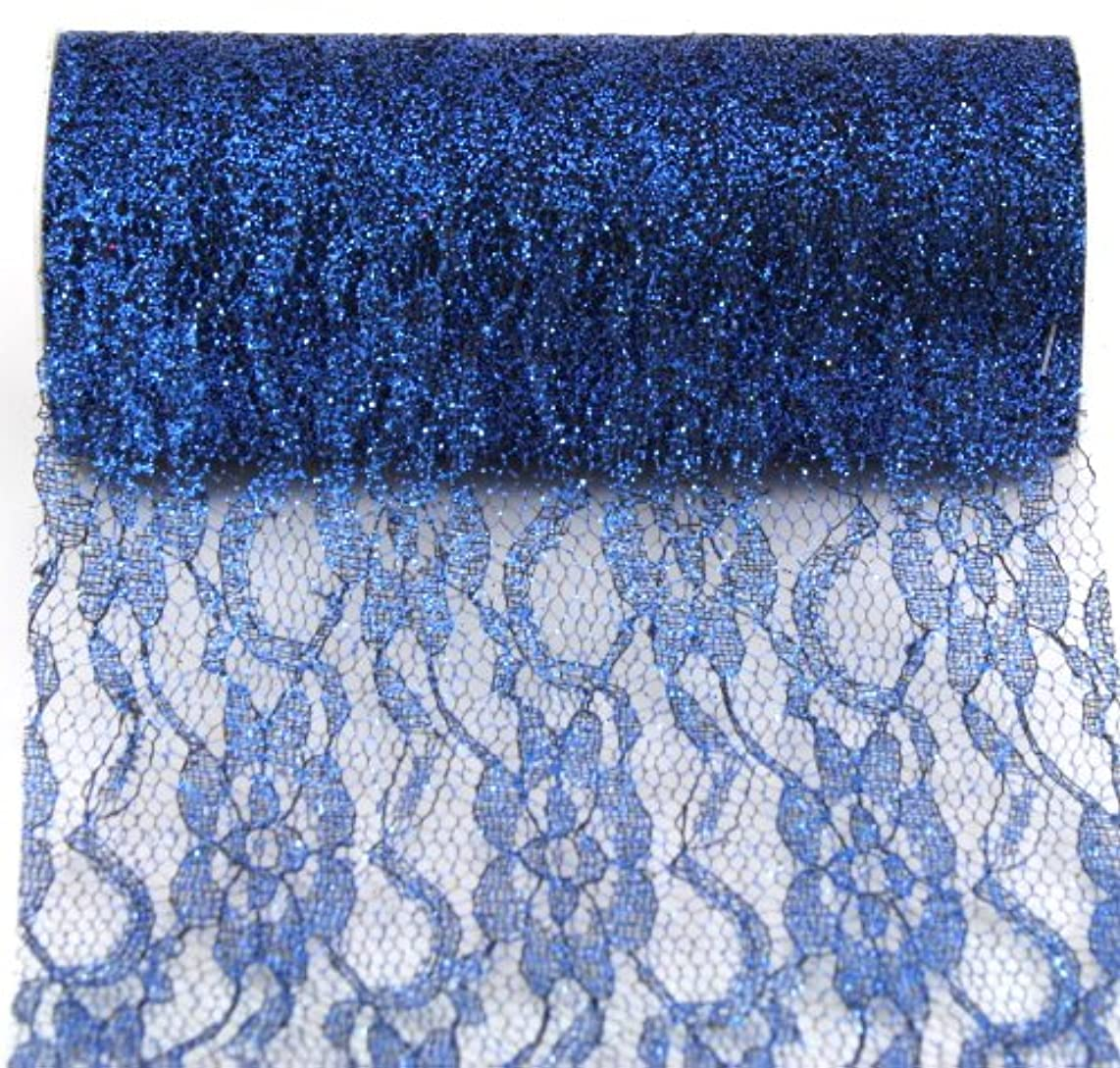 Kel-Toy Sparkle Lace Fabric, 6-Inch by 10-Yard, Navy