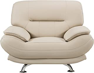 American Eagle Furniture Mason Collection Upholstered Bonded Leather Armchair with Added Base Support and Pillow Top Armrests, Bone