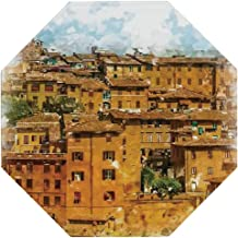 Tuscan Decor Vintage Octagonal Tin Sign,Faded Photo of Historical Italian Town with Old Traditional Authentic Buildings Retro for Decorating Bars,12