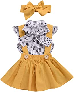 Chumhey Baby & Toddler Girls Big Bowknot Polka Dot Printed Tops 3Pcs Skirt Sets with Headband