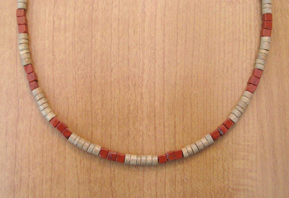 Wood Denver Mall Heishi Red Our shop OFFers the best service Jasper Necklace