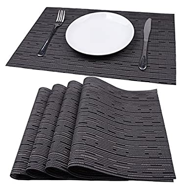 Mint Cook Washable Reversible Heat-resistant Placemats for Dining Table, Gray Bamboo Shape, Set of 4