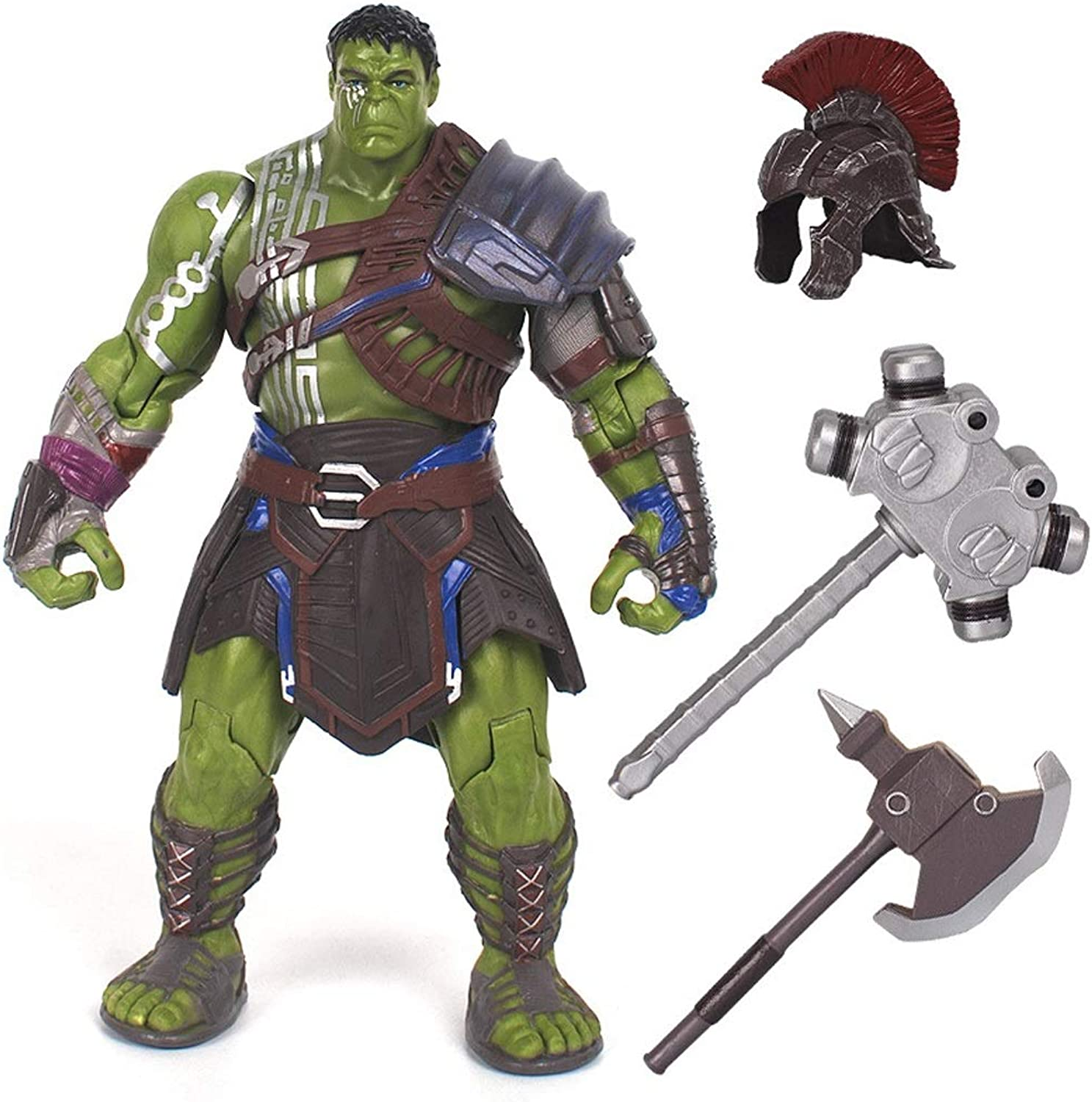Superhero Gladiator Incredible Hulk Action Figure  Equipped with Helmet, Hammer, Axe