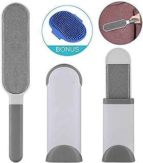 GSWAY Removedor de Pelo para Mascotas y Pelusa de Ropa, Reutilizable de Doble Cara con Base de autolimpieza con tamaño de Viaje Cepillo Telas, Muebles, alfombras (Paquete de 3)