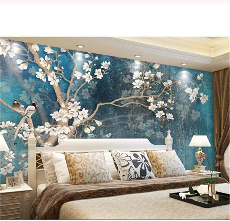 Fifikoj Wallpaper Murals Vintage Hand Painted Magnolia Flower Wall Vintage Blue Refined Oil Painting Wallpaper For Living Room 250X175CM