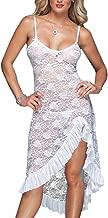 EVAbaby Sexy Plus Size Maxi Long Lingerie Deep V High Split Asymmetrical Lace Babydoll Chemise Sleepwear Set for Women