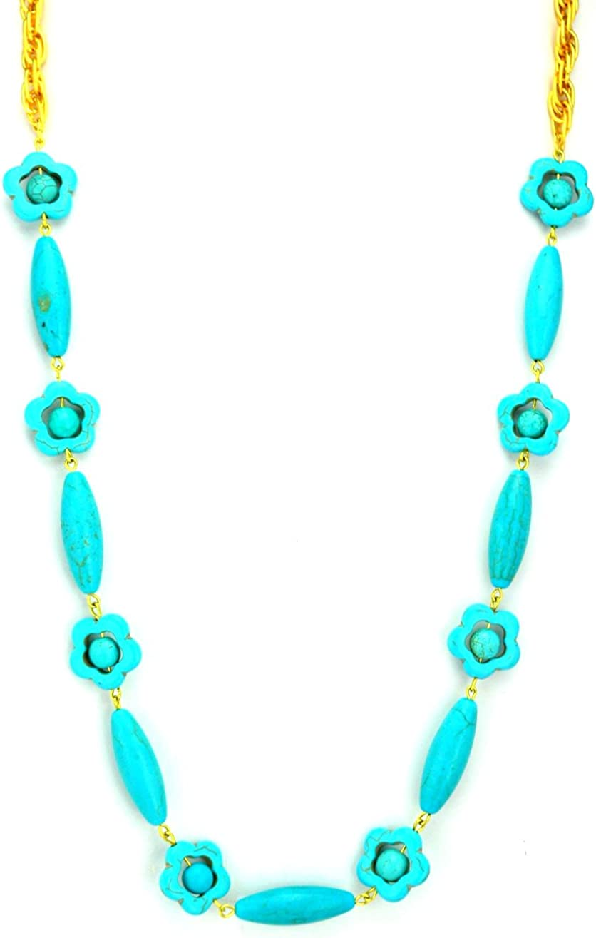 Gay Isber Popular products Brand new Turquoise Dyed Howlite Adjustable Hand Linked Necklace