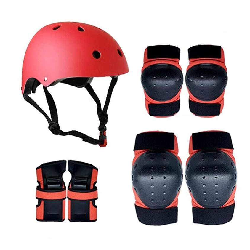 永久寛大さ犯す子供保護ギアセット3-8歳男の子女の子調節可能なスケートヘルメット膝パッド肘パッドリストガードパッドセット用BMXサイクリングスケートボードローラースケートスクーター