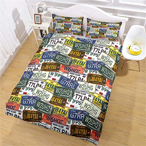 Jinaomy Duvet Cover 220x240cm license plate Bedding Set with Zipper with 2 Pillow covers 50 x 75cm Luxury Microfiber Easy Care Ultra Soft Anti Allergic