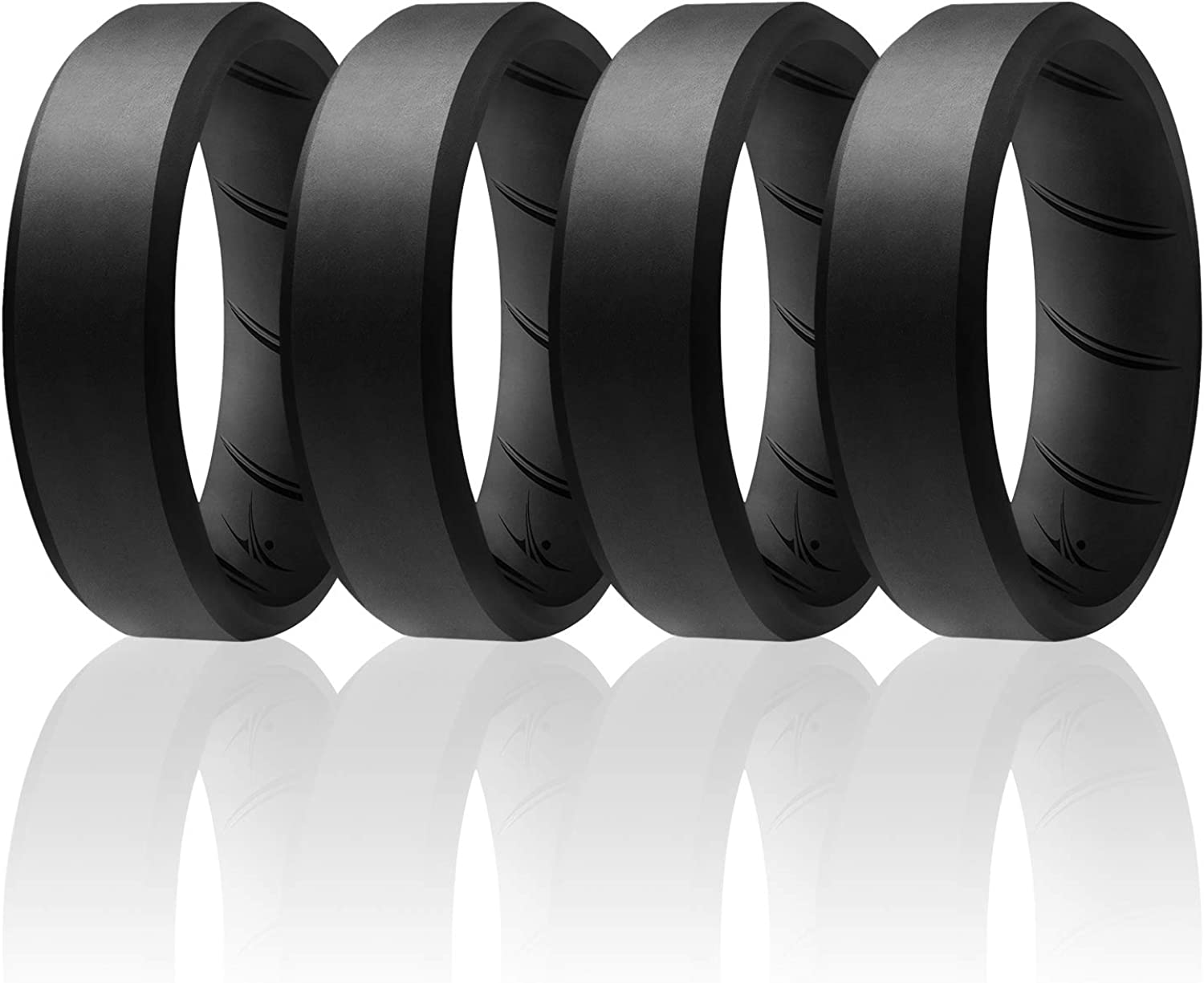 8mm Beveled Breathable Silicone Rings with Comfort Fit Air Flow Design Comes in 1//4//6 Packs ROQ Silicone Ring for Men Mens Silicone Rubber Medical Grade Bands Safe Wedding Rings for Men