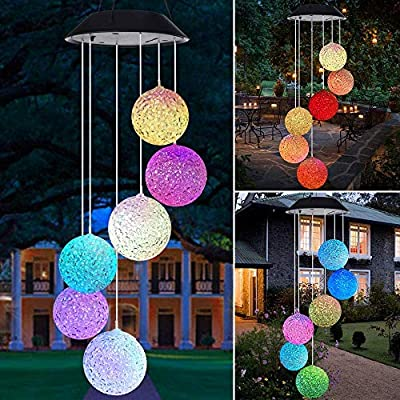 Lampelc Solar Wind Chime Light Crystal Ball LED Solar Light Color Changing Waterproof for Outdoor Decor, Yard Decorations (Solar Wind Chime Light)