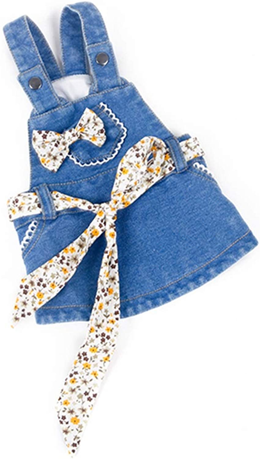 AUSWIEI Sabrina Julias Dog Cute Clothes for Spring and Summer Bule Denim Dress (color   bluee, Size   XS)