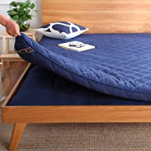 Traditional Japanese Quilting Futon Mattress, Thicken Tatami Mattress Pad Foldable Floor Mat Quilted Fitted Mattress Topper-Blue Queen