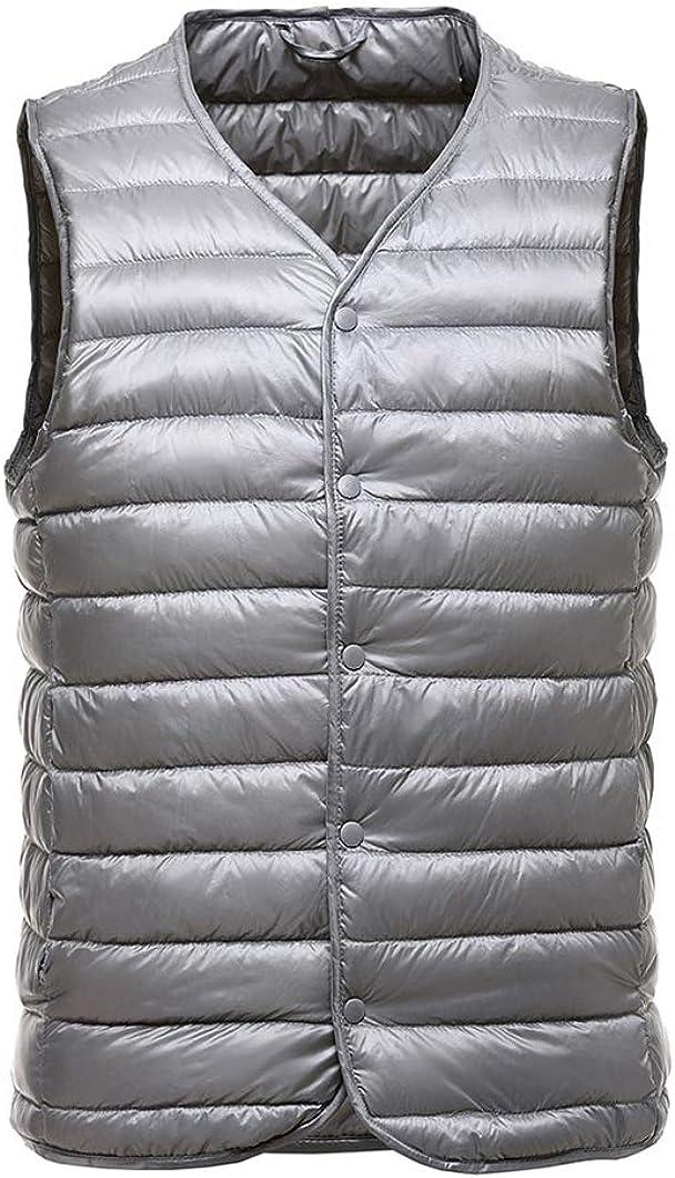Duyang Men's Ultra Light V-Neck Down Vest Outdoor Packable Sleeveless Down Puffer Jacket