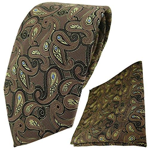 TigerTie Krawatte + Einstecktuch in braun blau gold schwarz Paisley