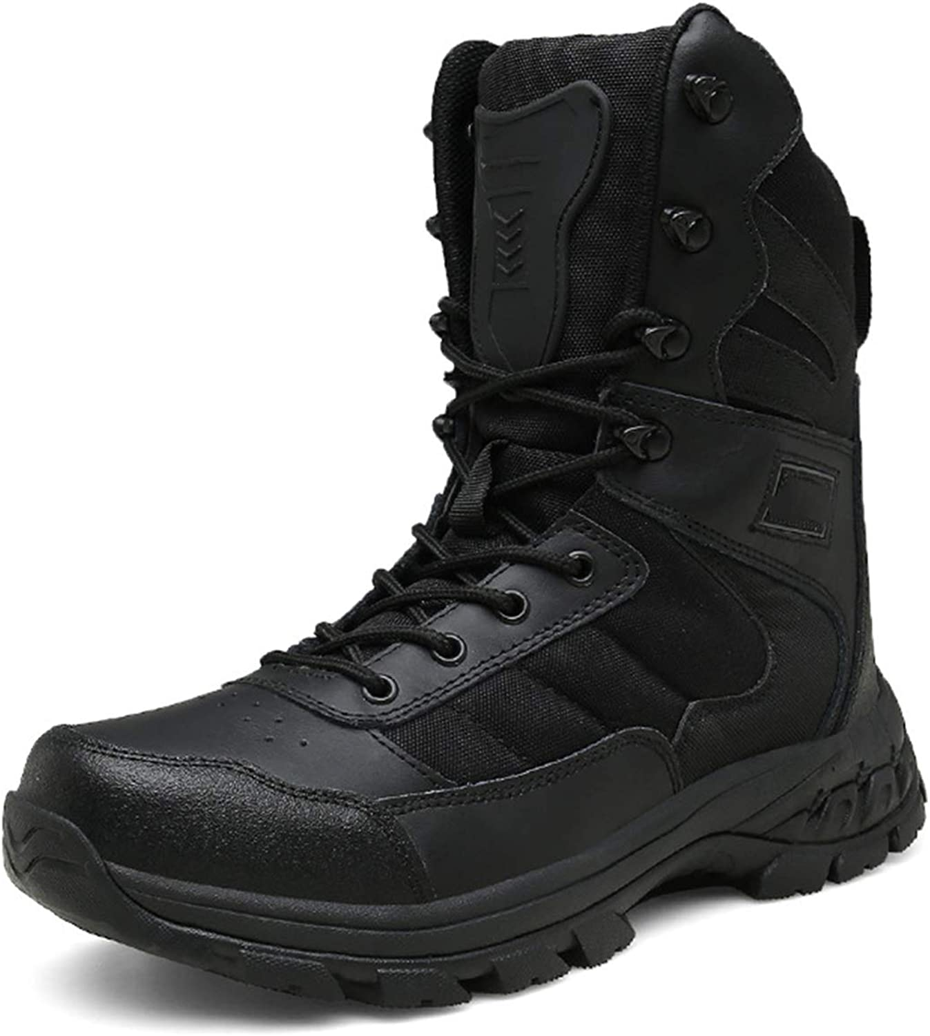 HNGLXQ Combat Boots G-21 Leather Side Zip Army Tactical Boots Delta Military Work Army shoes Safety Ankle Boots Breathable Commando Outdoor Desert Tactical Military Patrol Boots,Black-EU43