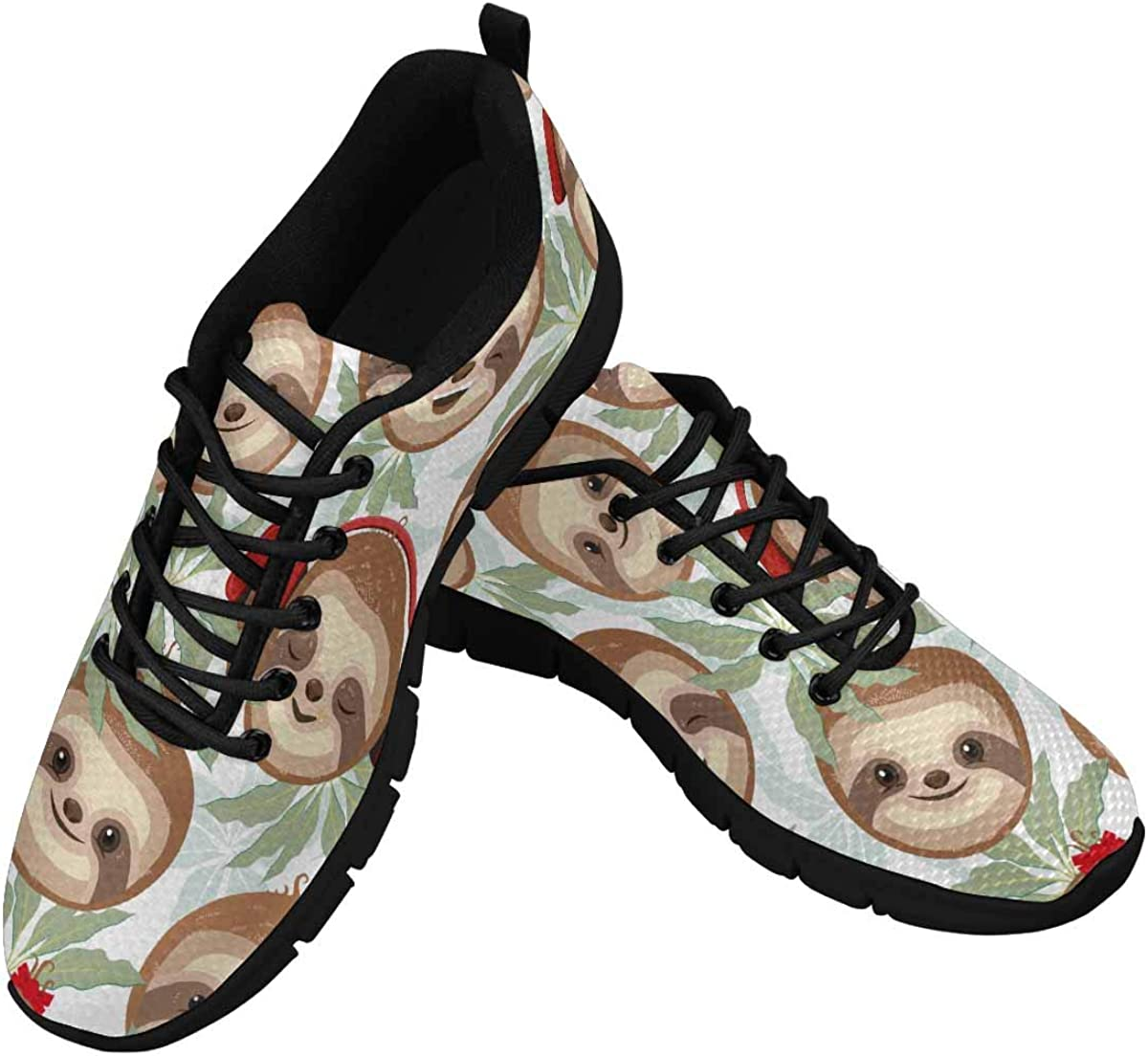 INTERESTPRINT Cheerful Sloths Faces Women's Lightweight Sneakers Mesh Breathable Yoga Shoes