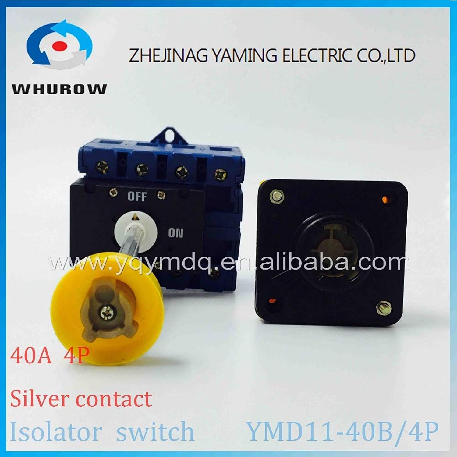 Isolator Switch YMD1140B 4P 690V with Padlock Aluminum Pole 40A Load Break Power Cut Off Operation Outside Electrical Cabinet