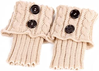 PIXNOR, Pixnor- Calcetines de punto para mujer, calentadores cortos, cubierta para botas, Beige