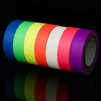 UV Blacklight Reactive - 0.59 × 33ft - Fluorescent Cloth Tape for Glow Party, Neon Party Tape (7 Colors)