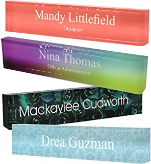 """Personalized Acrylic Block Name Plate with Printed Background 2"""" x 8"""""""
