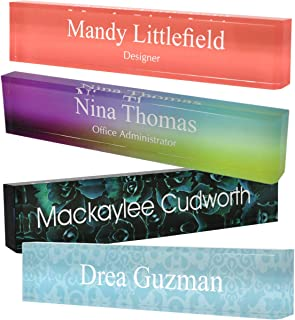 Personalized Acrylic Block Name Plate with Printed Background 2