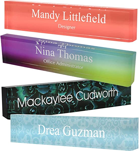 Personalized Acrylic Block Name Plate With Printed Background 2 X 8