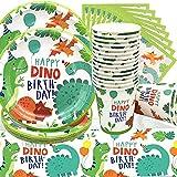 Doyomtoy Set Stoviglie 61 Pezzi Dinosaur Festa di Fornisce, Compleanno Stoviglie Forniture Dinosaur Tema Piastra Tazza Tovaglia Decorazione di Forniture per Feste (20 Ospiti)