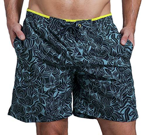 SHEKINI Bañsdor Hombre Bañadores de Natación Pantalones Cortos Baño Deporte Secado Rápido Imprimió Transpirable Surf Playa Shorts(30,Azul Oscuro B)